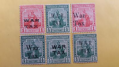 Trinidad Overprinted MH War Tax Stamps All Different as Per Photo Value