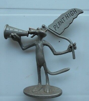 Vintage SPOONTIQUES A63 Pewter Pink Panther Figurine Plant High Cheerleader 1981