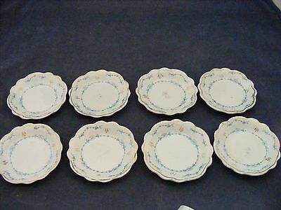 "8 Butter Pats 3.25"" Blue Floral Scalloped Edge W.G. Grindley England"