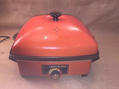 Vintage RIVAL Electric Crock Plate w/ Lid Retro Orange 10 in 1 Hot Plate Cooker