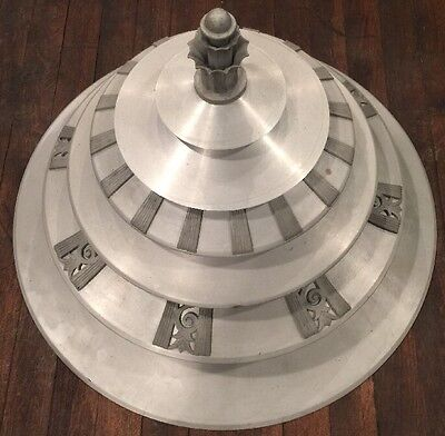HUGE 6 Tier LIGHTOLIER Art Ceiling Light Fixture Aluminum Machine Age DECO