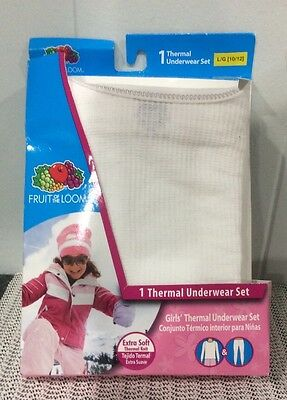 NEW! Fruit of the Loom  soft White Girls thermal underwear Set Size L/G. 10/12