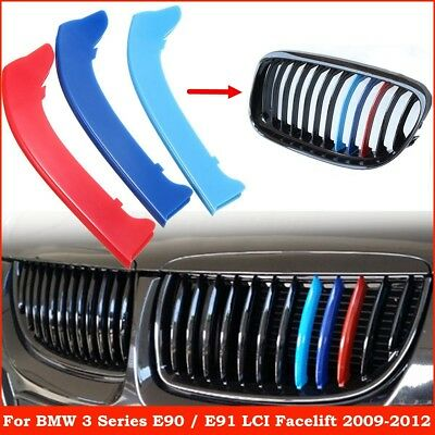 M Color Kidney Grille Stripe Cover Decor For BMW 3 Series E90 E91 With 12 Bars