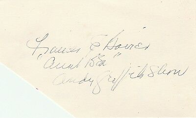 Frances Bavier Aunt Bee Hand Signed Autographed 3 X 5 Card