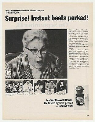 1972 Mrs White Maxwell House Instant Coffee Photo Ad