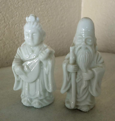 Vintage Chinese Men and Woman Small Porcelain Figurines