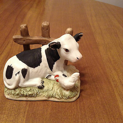 Homco Cow & Chicken By Fence Figurine - #1469