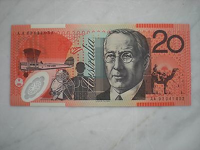 2003  $20 AA03  First Prefix Banknote   CHOICE UNC