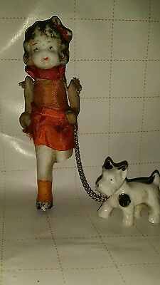RARE Vintage Porcelain girl w/dog on chain string arms/ cloth clothes
