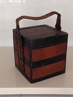 Beautiful Antique Woven Chinese Food Storage Basket