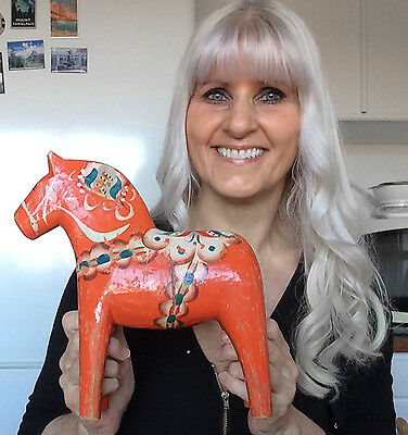 26 cm 10.5'  OLD SWEDISH HANDCARVED HANDPAINTED DALA HORSE FROM MORA