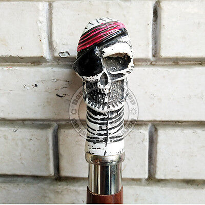 Antique Bone Nautical Skull Head Handle Walking Canes-Vintage Style Gift