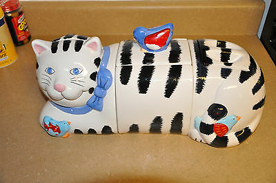 Coco Dowley Cat Cookie 3 Piece Jars, Certified International Corp. RARE