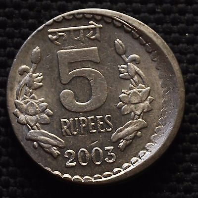 INDIA 2003 Rs.5 COIN WITH DIE SHIFT, OFF CENTER ERROR CALCUTTA MINT