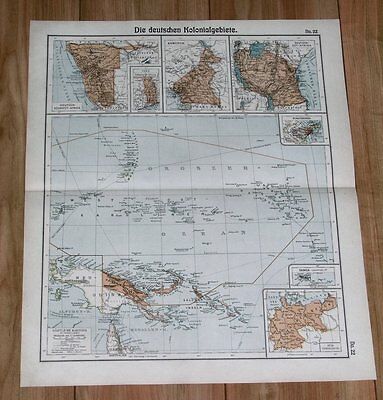 1905 Original Antique Map World German Colonies Tanzania Togo Namibia New Guinea