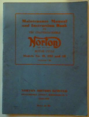 Norton Model 19, 50 and ES2 Maintenance Manual and Instruction Book - 1959