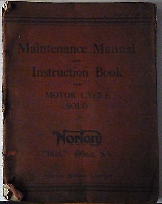 Norton 16H 490cc SV Maintenance Manual and Instruction Book  - Air Ministry