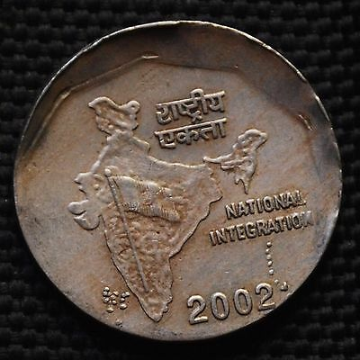 INDIA 2002 Rs.2 COIN WITH DIE SHIFT OFF CENTER ERROR