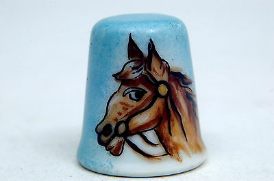 Limoges Handpainted Initialed FD Horses Head Pottery Thimble B/70