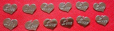 12 pk Embellishments silver love heart charm valentines/mothers day/crafts/