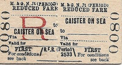 M.& G.N. Jt. Comm. Edmondson Ticket - Caister on Sea to __________