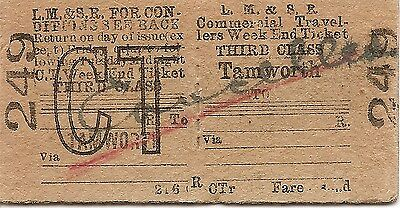L.M.S.R. Edmondson Commercial Travellers Ticket - Tamworth to ...........