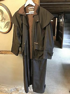 Driza Bone Full Length Waxed Brown Riding Coat Size 3 XS - Chest 95cm