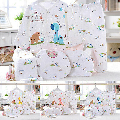 5pc Cotton Newborn Baby clothes Sets 0-6 Month boys girls sleepwear Pants
