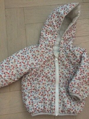 Next Girls 3-6 Months White And Floral Print Reversible Zip Hooded Jacket