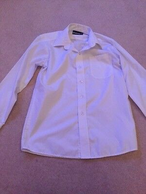 Boys White Long Sleeved School Shirt, Collar Size 12.5 Inches, Good Condition
