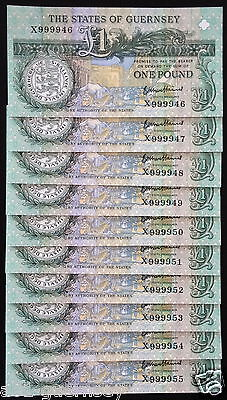 1St Run Guernsey Very High X9999 46-55 £1 Note B,haines Started X900001 Mint Unc