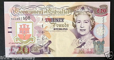 Smart 2004 Gibraltar £20 Note With Low Number Ccc00 1508  Tercentenary Note.