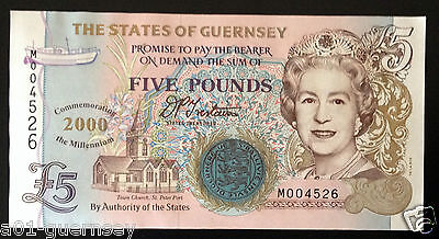 Limited Edition Guernsey Millennium M00 4526 £5 Note Signed D.p.trestain Unc
