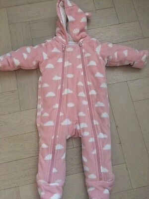 M&S Girls 3-6 Months Pink And White Clouds All In One Hooded Fleece With Feet