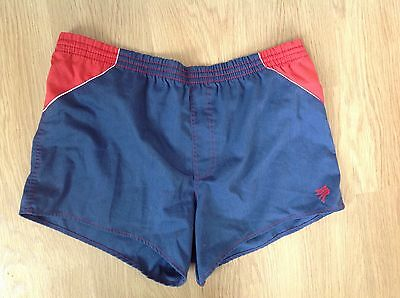 PEGASUS Mens Vintage Navy Blue Red Swimming High Leg Cut Shorts Trunks W34