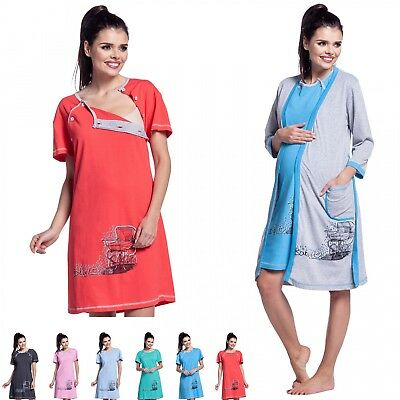 Zeta Ville -Maternity Women's Nursing Nightdress Robe Set Labour Hospital - 379c