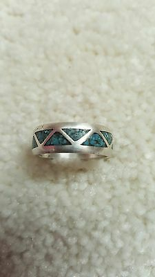 Navajo Sterling Silver 925 Ring Blue Chip Inlay