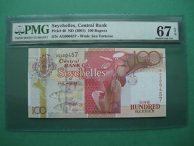 2001 Seychelles Central Bank 100 Rupees S/n. Ag000457 Pmg 67 Epq Superb Gem Unc