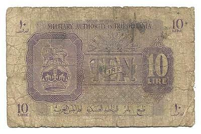10 Lire British Military Authority Tripolitania , ND(1943), WWII banknote, VG-F