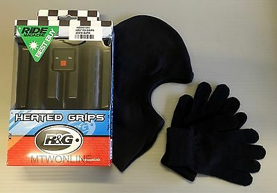R&G Motorcycle Heated Grips (for 22mm 7/8' Bars) FREE Balaclava & Inner Gloves