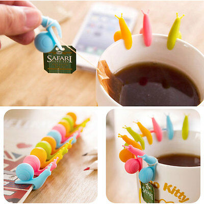 5X Candy Color Lovely Mini Snail Shape Silicone Tea Bag Holder Cup Mug Gift Set