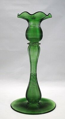 Antique Art Glass Green Machine Threaded Candlestick