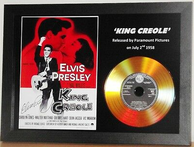 Elvis Presley 'king Creole' Signed Photo With Gold Disc