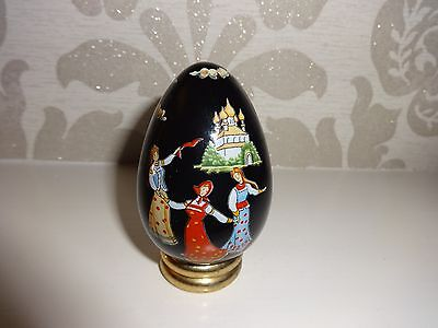 Collectable Ceramic Decorative Egg -  Scenic Design With Stand Mint Condition!