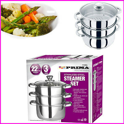3 Piece Steamer Set Prima Stainless Steel Vegetable Steam Metal & Glass Lid Kit