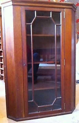 Mahogany Wooden Glass Fronted Cupboard Cabinet Corner Unit