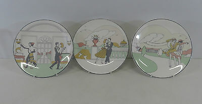 Set Of 3 Royal Grafton Twenties Collection Fine Bone China Decorative Plates