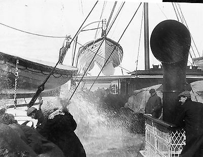 PHOTOGRAPHIC GLASS NEGATIVE PASSENGERS SOAKED ON BOARD ISLE OF MAN FERRY c1895