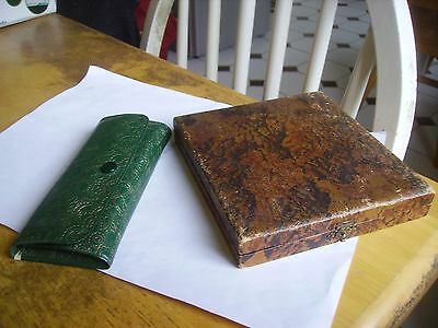 Two vintage collectible travel grooming sets with cases from 1930s-1950s on.