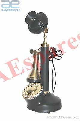 NEW ANTIQUE BRASS CANDLE STICK TYPE TELEPHONE BLACK VINTAGE OLD @uk